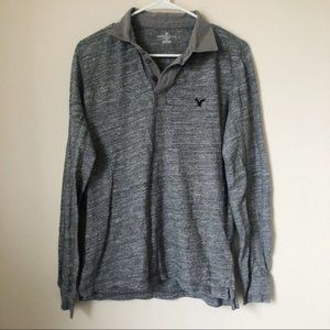 American Eagle Men's Collared Long Sleeve T-Shirt
